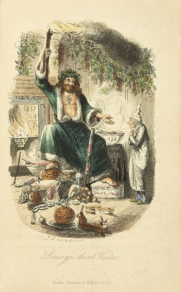 Scrooge's third visitor (wearing green) in Dickens's A Christmas Carol, a Victorian representation of Father Christmas