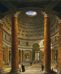 The massive unsupported domed ceiling of the Pantheon in Rome measures 142 feet across. It is made of concrete and brick, and no one has yet discovered exactly how it was constructed