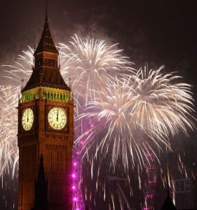 fireworks over london and big ben