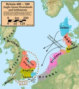 Angles, Saxons and Jutes migration 400-500 AD