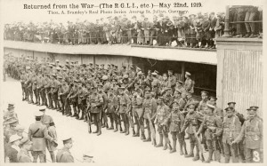 Returned from the War. Parading on the White Rock after Disembarking