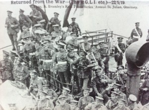 The SS Lydia enters St. Peter Port 22 May 1919 bearing the survivors of the RGLI