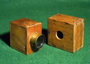 Two  Talbot 'mousetrap' cameras, c 1835.