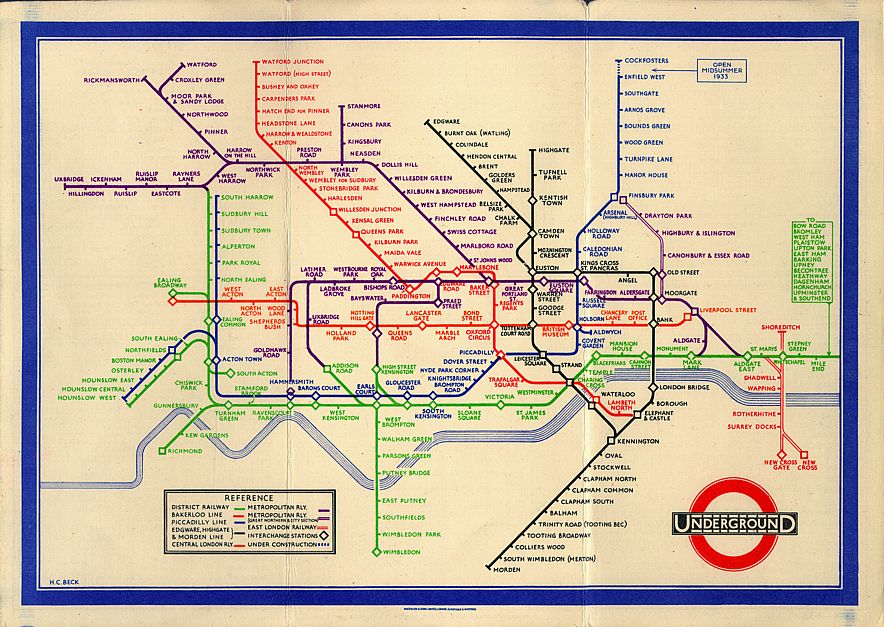 Beck's original and iconic London Tube Map c.1933