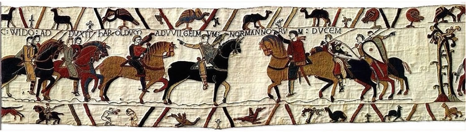 HIC VENIT NUNTIAS AD WILGELMUM DUCEM. HIC WIDO ADDUXIT HAROLDUM AD WILGELUM NORMANNORUM DUCUM : Here the messengers came to Duke William. Here guy took Harold to William, Duke of Normandy.