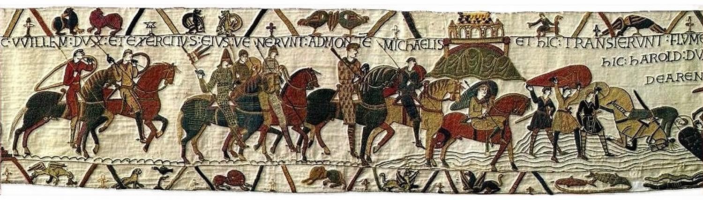 HIC WILLELM DUX ET EXERCITUS EJUS VENERUNT AD MONTEM MICHAELIS : Here Duke William and his army came to Mont St Michel.