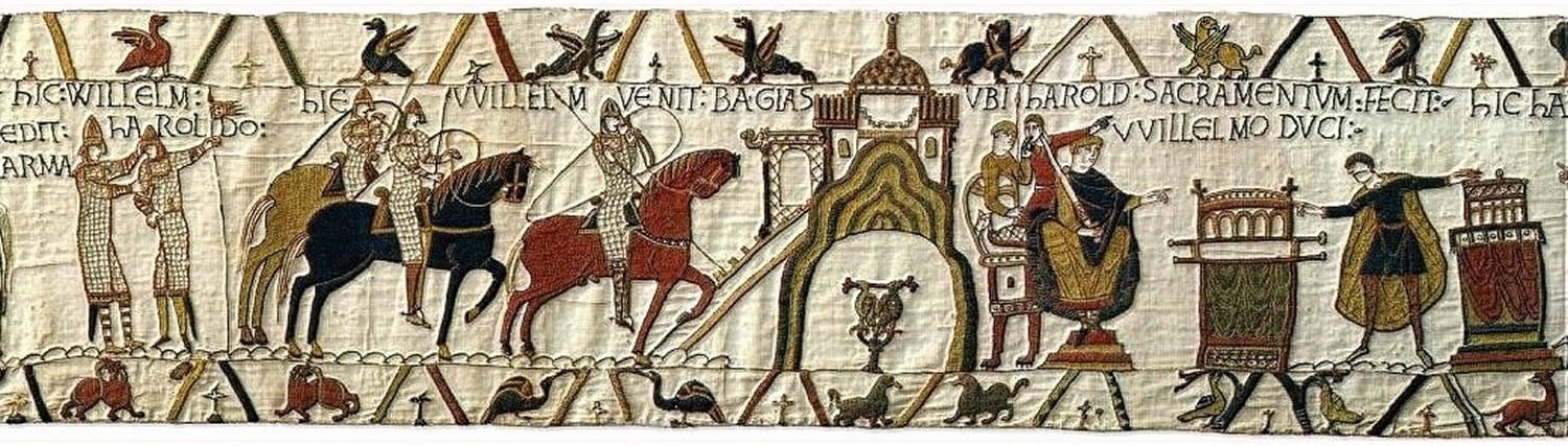 HIC WILLELM DEDIT ARMA HAROLDO. HIC WILLELM VENI BAGIAS.UBI HAROLD SACRAMENTUM FECIT WILLELMO DUCI : Here William gave Harold weapons. Here William came to Bayeux.Where Harold gave his oath to Duke William.