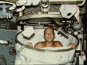 Astronaut shower in space