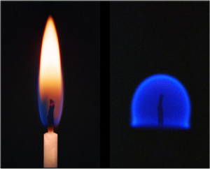 Flame_on_Earth_Compared_with_Flame_in_Space
