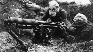 Hooded machine gunners on the Somme 1916